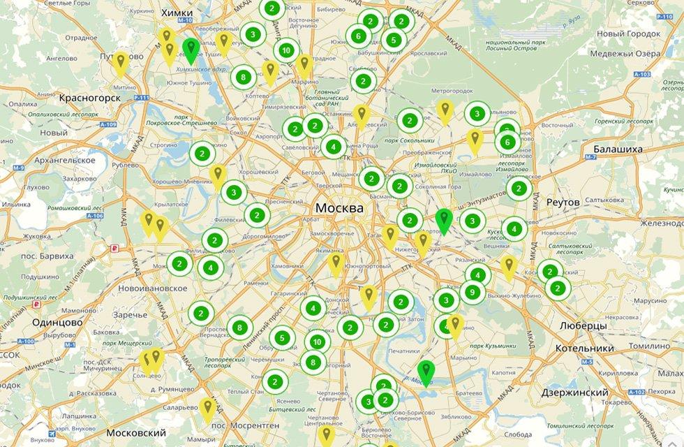 Карта площадок по реновации